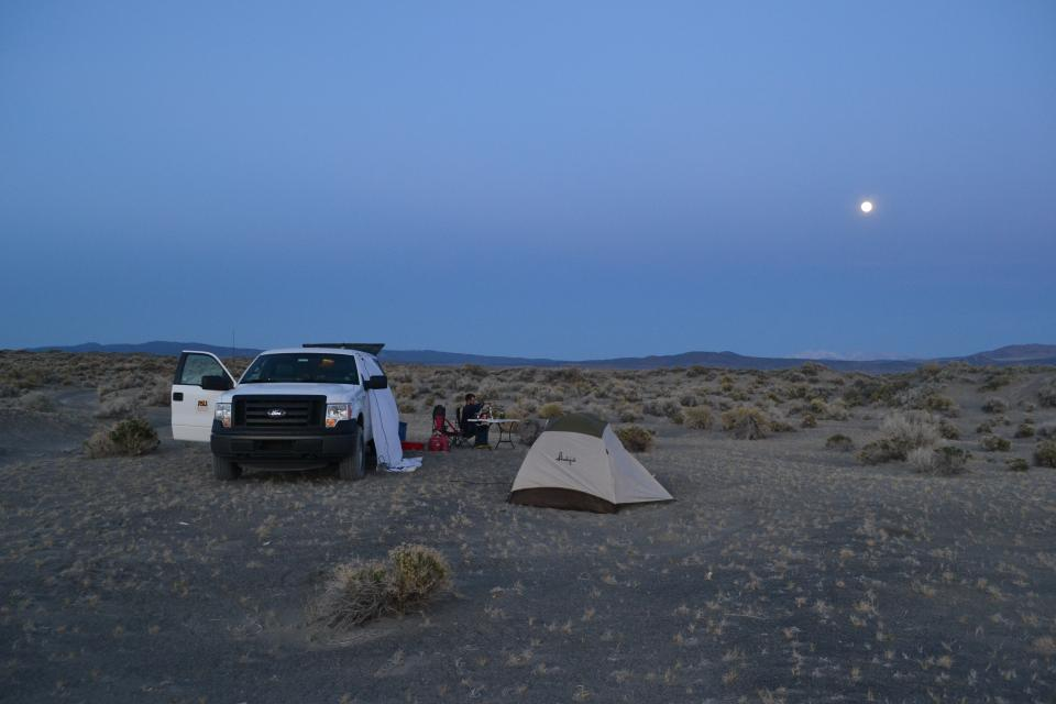 ASU Graduate Students camping on Nevada Sand Dunes