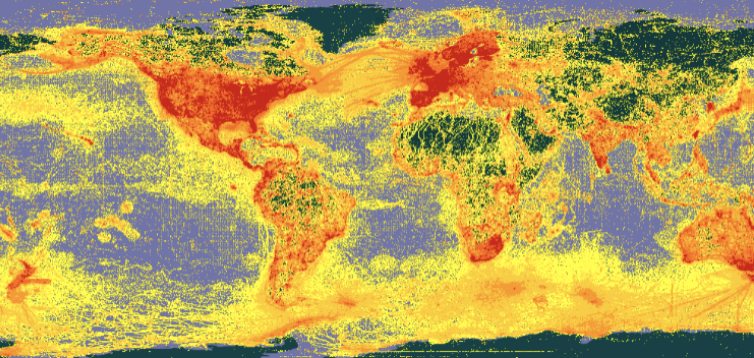 Map of all digitized organismal occurrence records on GBIF